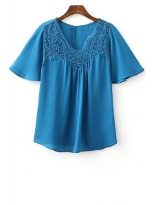 Lace Splice V Neck Short Sleeve T-Shirt