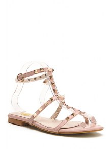 Buy Rivet T-Strap Flat Heel Sandals 35 PINK