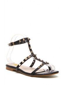 Buy Rivet T-Strap Flat Heel Sandals 37 BLACK