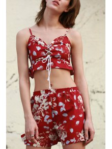 Floral Cami Crop Top And Wide Leg Shorts Suit - Wine Red Xl