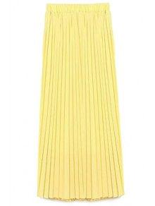 Solid Color High Waist A-Line Chiffon Skirt - Yellow