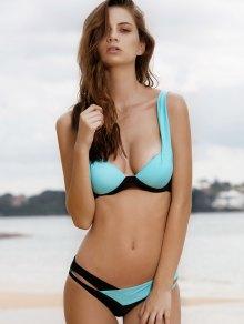 Chic Spaghetti Strap Color Block Criss-Cross Bikini Set For Women - Lake Blue