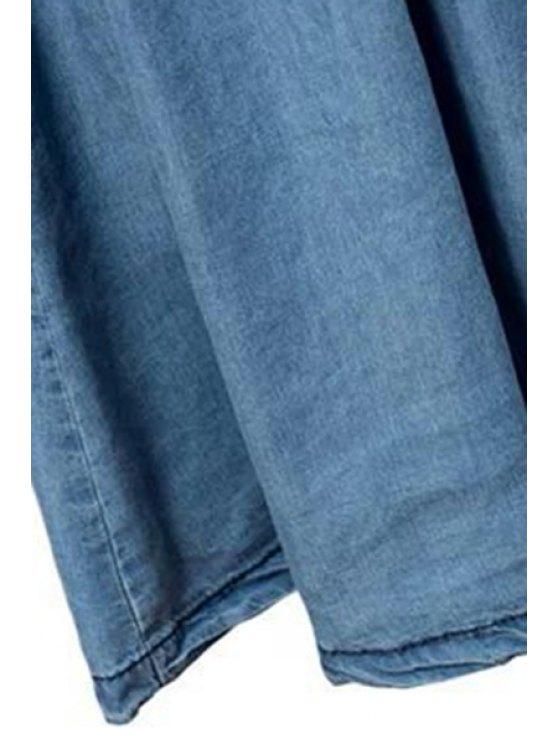 Light Blue High Waist Denim Skirt - LIGHT BLUE L Mobile