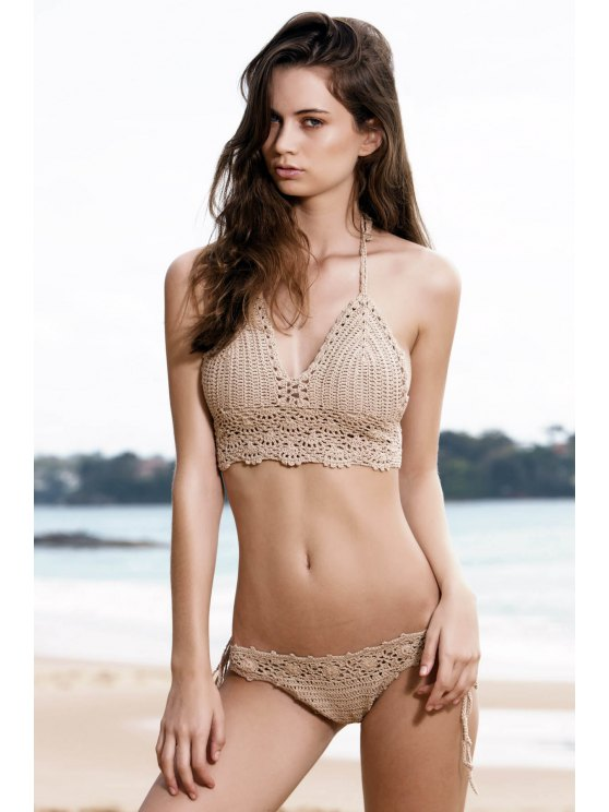 chic Tie Side Crochet Bikini Set - KHAKI ONE SIZE(FIT SIZE XS TO M)