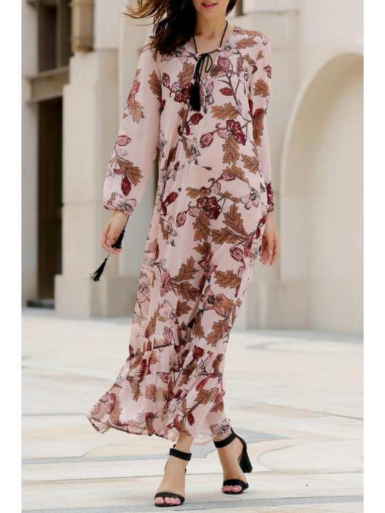 lady Printed Plunging Neck Long Sleeve Maxi Dress - PINK M