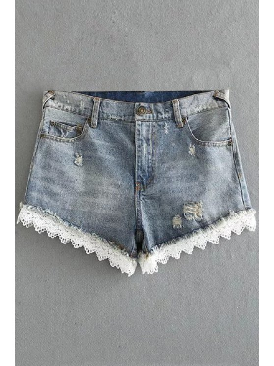 Gancho de encaje equipada pantalones cortos de mezclilla cintura alta - Gris Claro XL