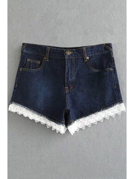 Gancho de encaje equipada pantalones cortos de mezclilla cintura alta - Marina de Guerra M