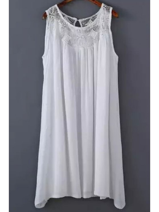 sale White Lace Splicing Round Neck Sleeveless Dress - WHITE M