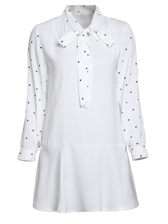 womens Polka Dot Self Tie Long Sleeve Dress - WHITE ONE SIZE(FIT SIZE XS TO M)