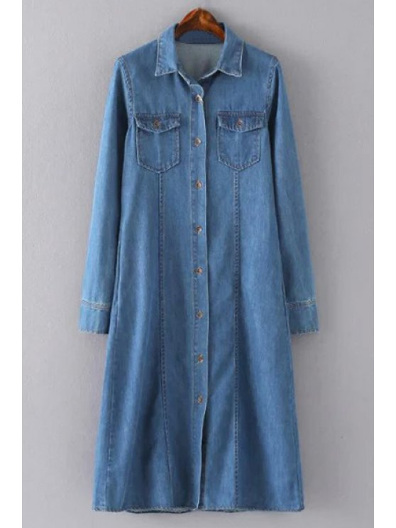 unique Blue Denim Turn Down Collar Long Sleeve Shirt Dress - BLUE XL