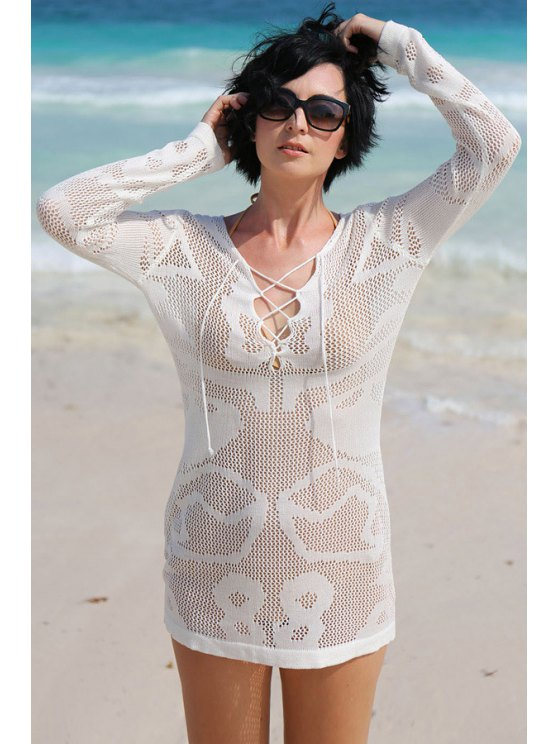 White Hollow Long Sleeve Cover-Up Dress - WHITE ONE SIZE(FIT SIZE XS TO M) Mobile