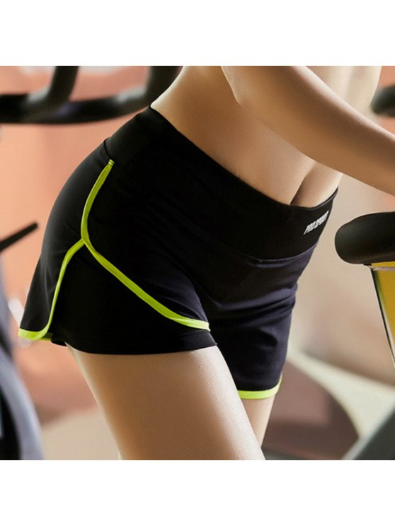Skinny Multicolor Super-Elastic Sport Shorts - NEON GREEN L Mobile
