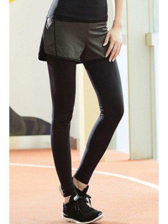 Chic taille haute stretch Faux deux pièces Sport pantalons pour femmes - Noir XL