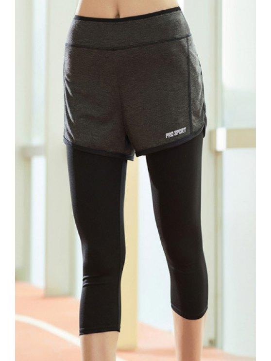 Chic taille haute Faux Deux Pantalons Piece Capri sport pour les femmes - Noir XL