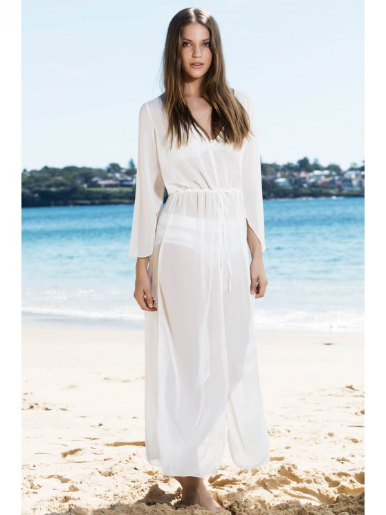 fancy White Chiffon V Neck Long Sleeve Cover Up - WHITE ONE SIZE(FIT SIZE XS TO M)