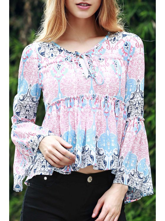 outfits Bell Sleeve Printed Trapeze Top - BLUE AND PINK L