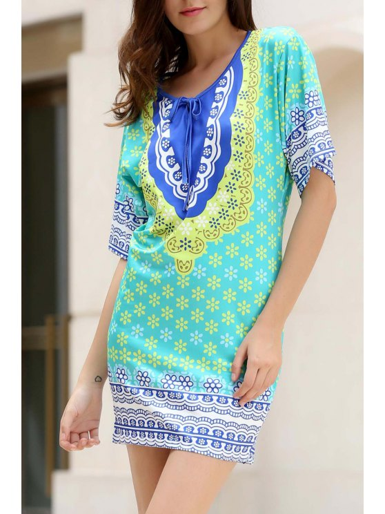 online Flower Print Plunging Neck Bat-Wing Sleeve Dress - GREEN ONE SIZE(FIT SIZE XS TO M)