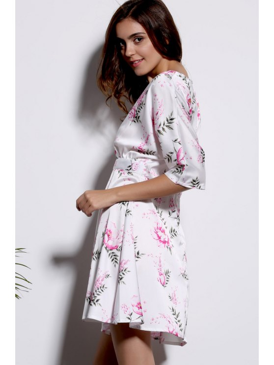 Floral Print Plunging Neck Half Sleeve Dress - WHITE 2XL Mobile