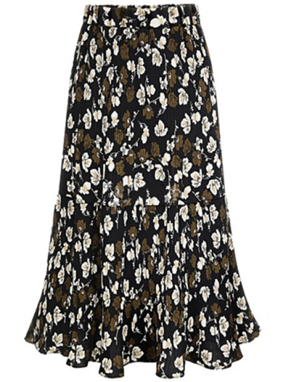 online A-Line Pleated Full Floral Skirt - BLACK 2XL