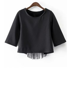Black Tassels Cut Out Round Neck Half Sleeve T-Shirt - Black M