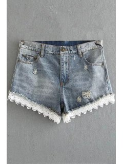 Fitted Lace Hook High Waist Denim Shorts - Light Gray M
