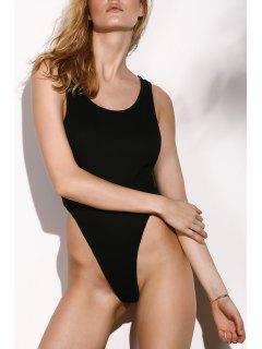 Backless Scoop Neck Solid Color Bodysuit - Black Xl