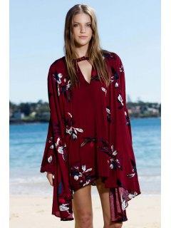 Keyhole Floral Robe Décolleté Manches Longues - Rouge Vineux  S