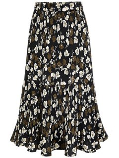 A-Line Pleated Full Floral Skirt - Black 2xl
