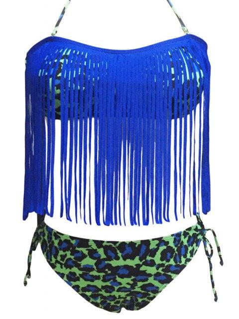 outfits Leopard Print Halter Tassels Spliced Bikini Set - BLUE 2XL Mobile