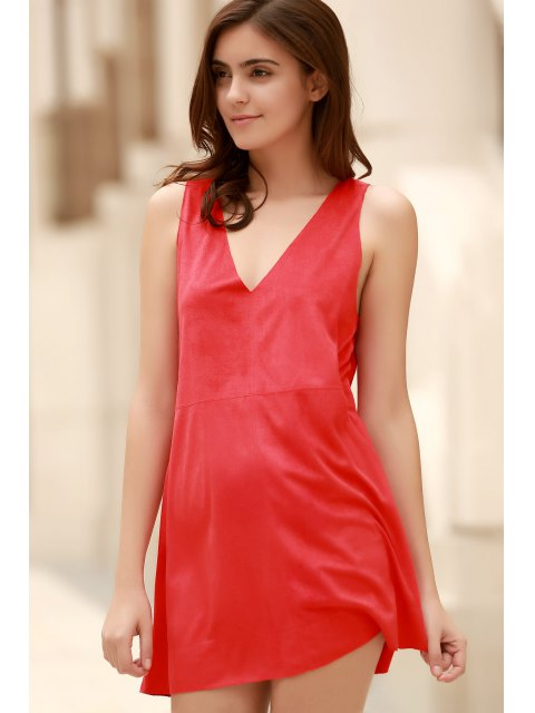 buy Red Faux Suede Plunging Neck Sleeveless Dress - RED S Mobile