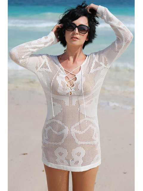women's White Hollow Long Sleeve Cover-Up Dress - WHITE ONE SIZE(FIT SIZE XS TO M) Mobile