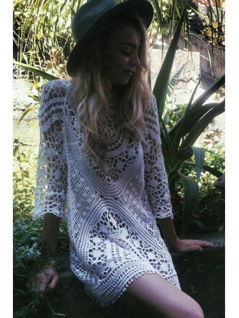 outfits 3/4 Sleeve Hollow Out Crochet Cover-Up - WHITE ONE SIZE(FIT SIZE XS TO M) Mobile
