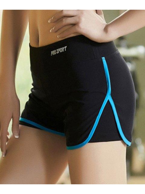 ladies Skinny Multicolor Super-Elastic Sport Shorts - BLUE XL Mobile