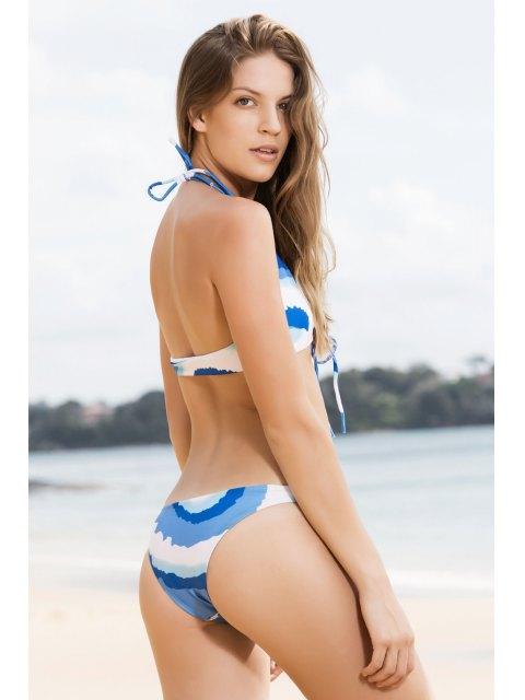 online Tie Front Thong Bikini Set - BLUE L Mobile