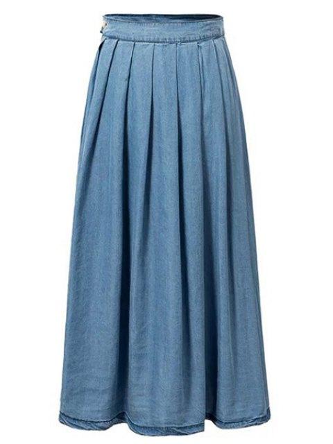 new Light Blue High Waist Denim Skirt - LIGHT BLUE S Mobile