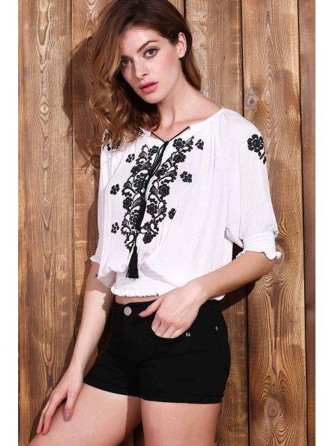 new Embroidered Elastic Hem White Top - WHITE M Mobile