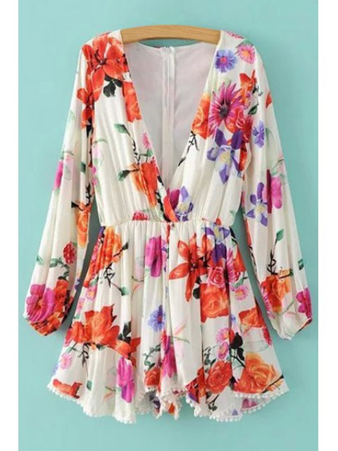 latest Plunging Neck Floral Print Long Sleeve Romper - WHITE M Mobile