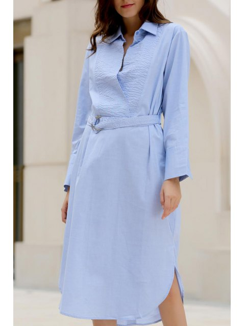 latest Bowknot Solid Color Turn-Down Collar Long Sleeve Dress - LIGHT BLUE M Mobile