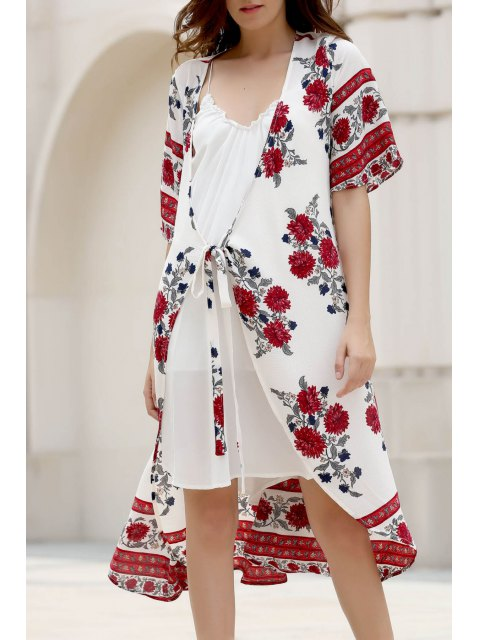 new Floral Print Plunging Neck Half Sleeve Chiffon Dress - WHITE L Mobile