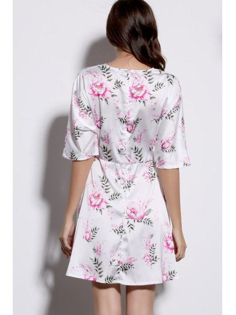 new Floral Print Plunging Neck Half Sleeve Dress - WHITE 2XL Mobile