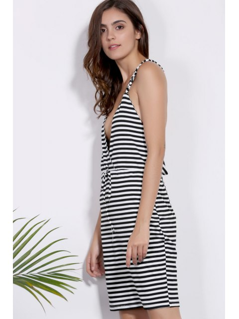latest Deep V Neck Striped Braided Dress - WHITE AND BLACK L Mobile