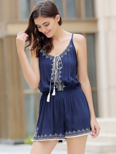 Casual Spaghetti Strap Sleeveless Embroidery Elastic Waist Romper For Women - PURPLISH BLUE S Mobile
