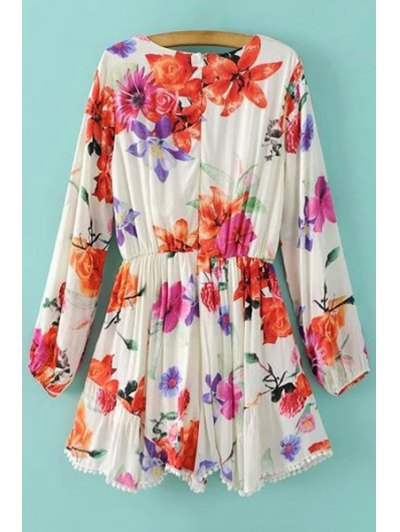 Plunging Neck Floral Print Long Sleeve Romper - WHITE L Mobile