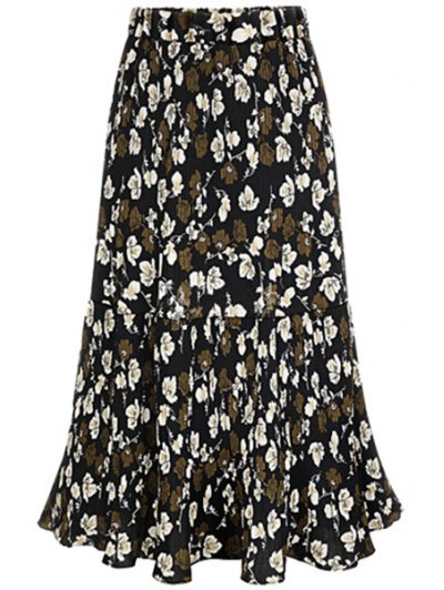 A Line Pleated Full Floral Skirt