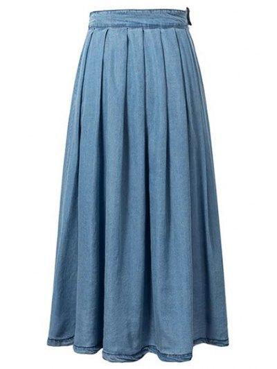 Light Blue High Waist Denim Skirt - LIGHT BLUE S Mobile
