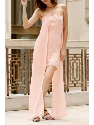 Asymmetric Bandeau Maxi Dress - Pink
