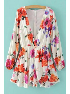 Plunging Neck Floral Print Long Sleeve Romper - White