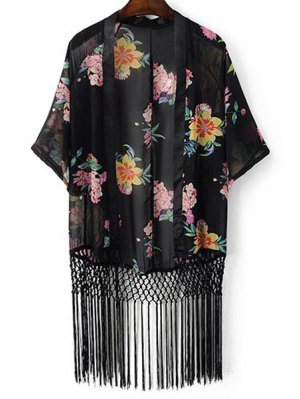 Floral Print Batwing Sleeve Tassels Spliced Blouse - Black