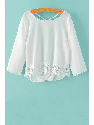 Back Cut Out 3/4 Sleeve Lace Spliced Blouse - White