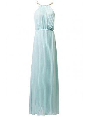 Pleated Round Neck Sleeveless Prom Dress - Green